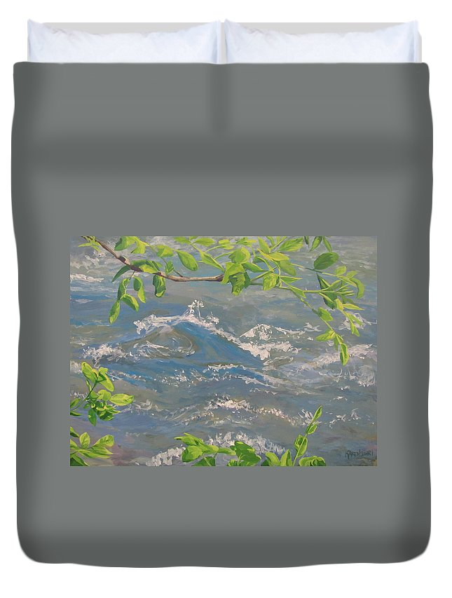 New Leaves Duvet Cover featuring the painting River Spring by Karen Ilari