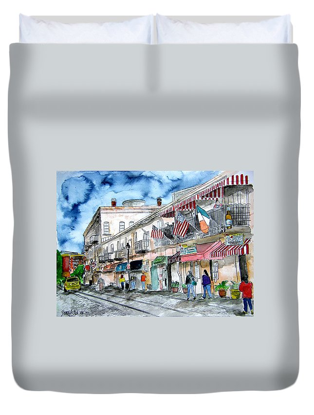 Savannah Duvet Cover featuring the painting River Street Savannah Georgia by Derek Mccrea