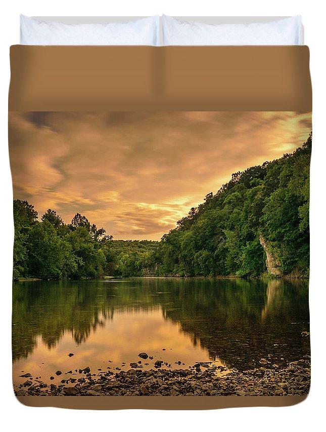 Sunset Duvet Cover featuring the photograph River Sunset by Bill Schmitter