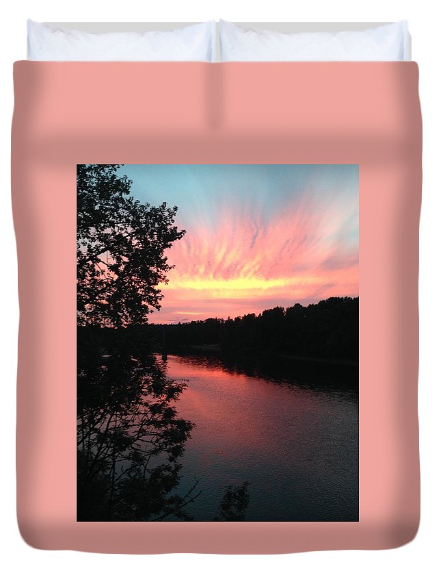 River Duvet Cover featuring the photograph River Sunset by Shari Chavira
