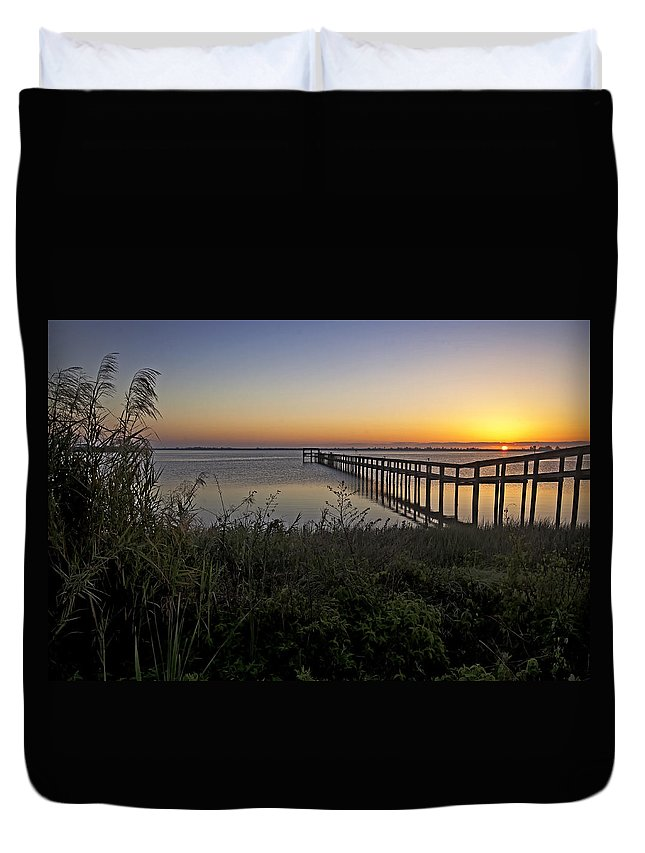 Indian River Duvet Cover featuring the photograph River Sunsrise - Florida Sunrise Scenic by Rob Travis