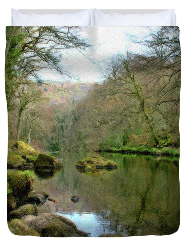 Landscape Duvet Cover featuring the painting River Teign - P4a16010 by Dean Wittle