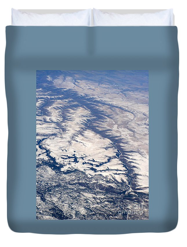 Aerial Duvet Cover featuring the photograph River Valley Aerial by Carol Groenen