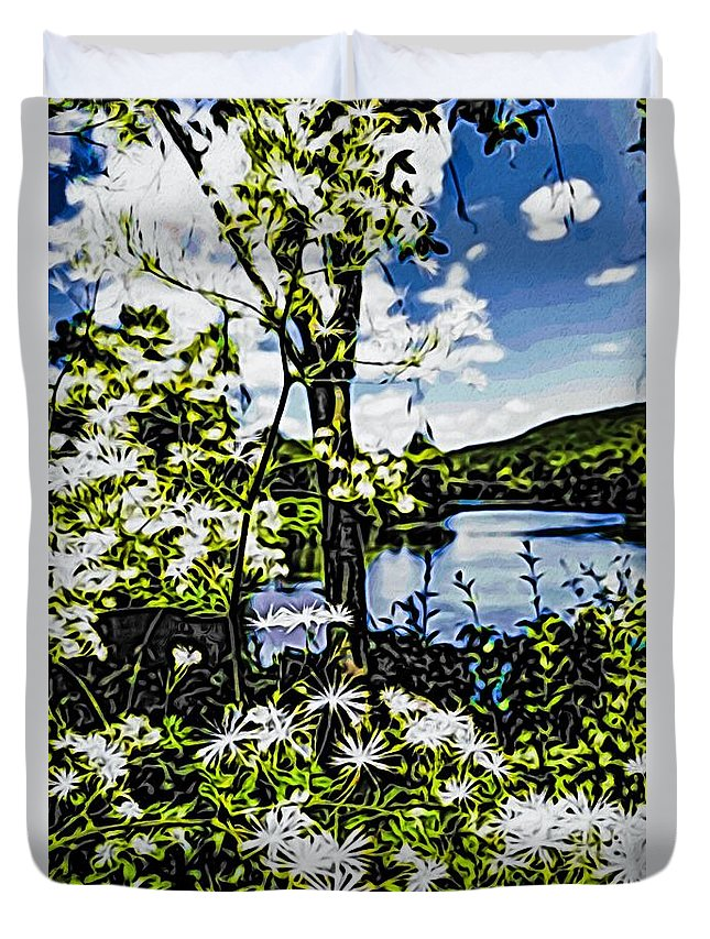 Nature Beauty In Nature Growth Lake Tree Tranquility Plant Water Scenics Day Outdoors Tranquil Scene Sky Flower Fragility Freshness River Lowers Duvet Cover featuring the photograph River View Through Flowers. On The Bridge Of Flowers. by Mark Sellers