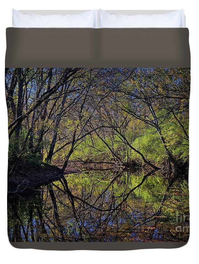 River Duvet Cover featuring the photograph River Walk Reflections by Stanton Tubb