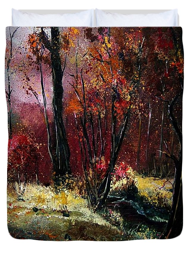 River Duvet Cover featuring the painting River Ywoigne by Pol Ledent