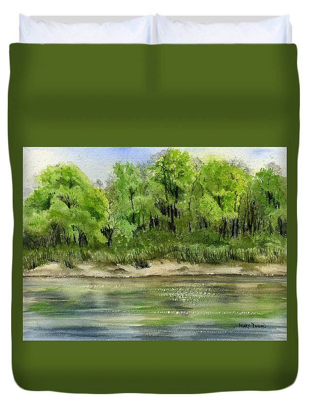 Water Duvet Cover featuring the painting Riverbank by Mary Tuomi