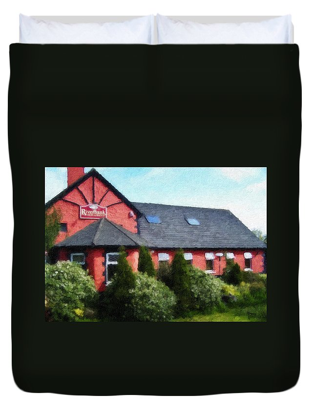Ireland Duvet Cover featuring the painting Riverbank Restaurant Riverstown Ireland by Teresa Mucha