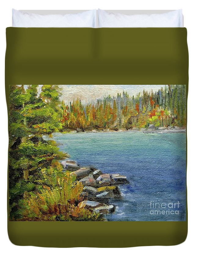 Painting Duvet Cover featuring the painting Riverbend by Mohamed Hirji