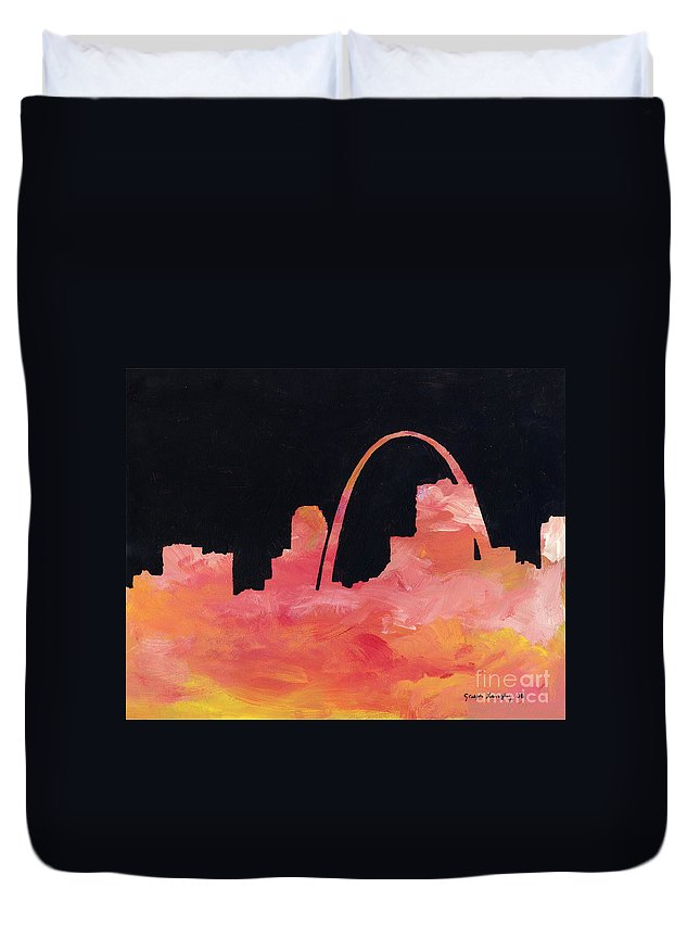 Cityscape Duvet Cover featuring the painting Riverfront by Joseph A Langley