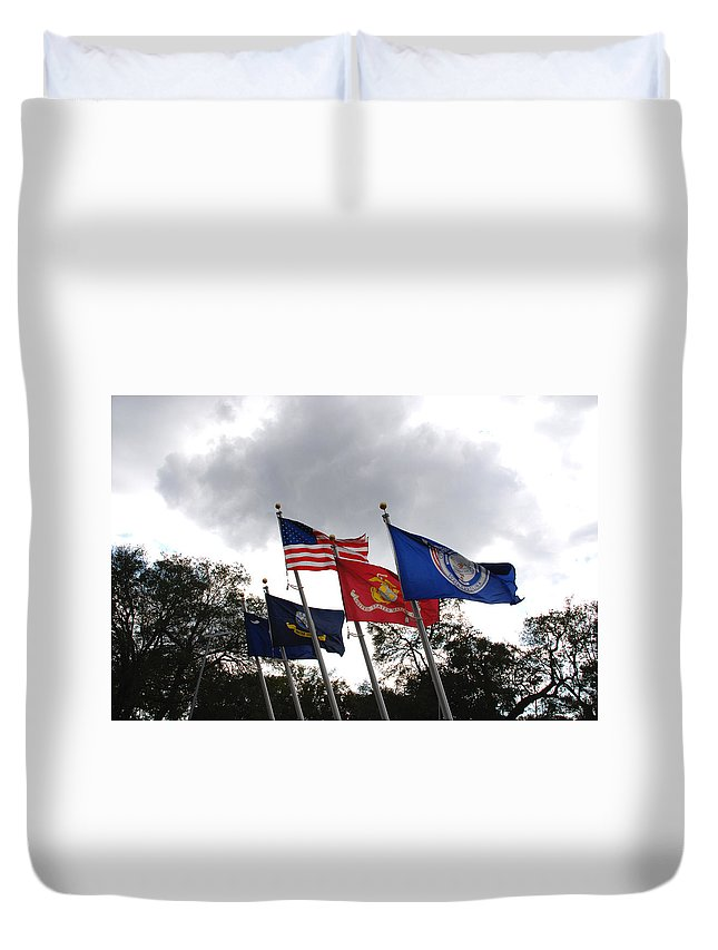 Photography Duvet Cover featuring the photograph Riverfront Park In Charleston Sc by Susanne Van Hulst