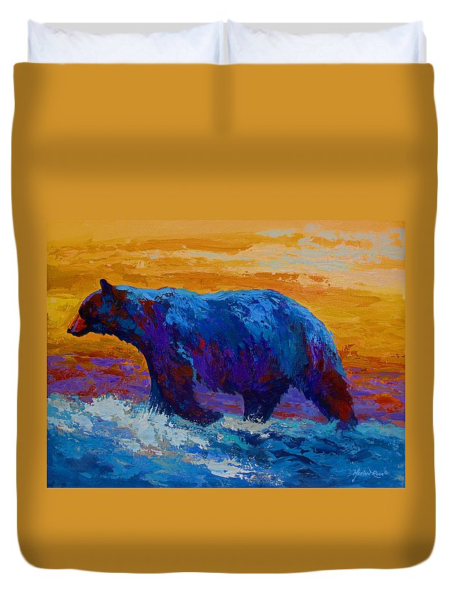 Bear Duvet Cover featuring the painting Rivers Edge I by Marion Rose