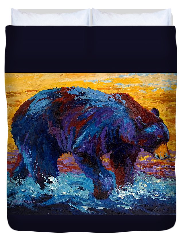 Western Duvet Cover featuring the painting Rivers Edge II by Marion Rose