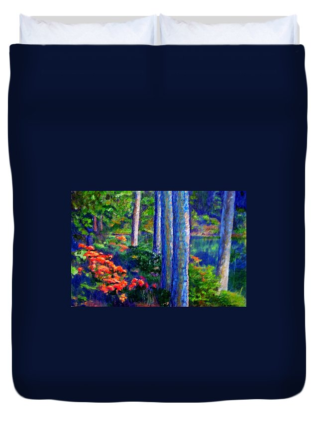River Duvet Cover featuring the painting Rivers Edge by Michael Durst