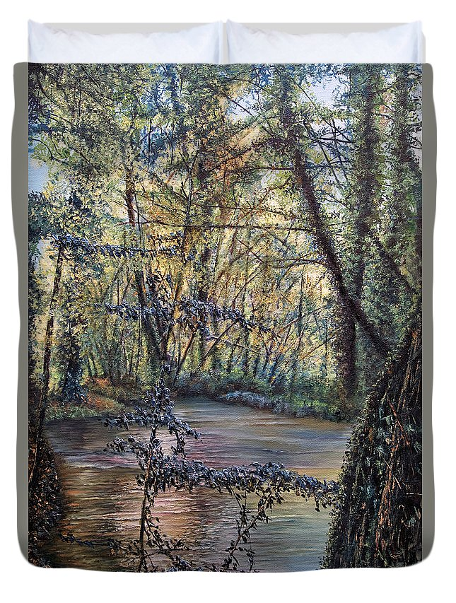 Skies Duvet Cover featuring the painting Riverside by Michel Angelo Rossi