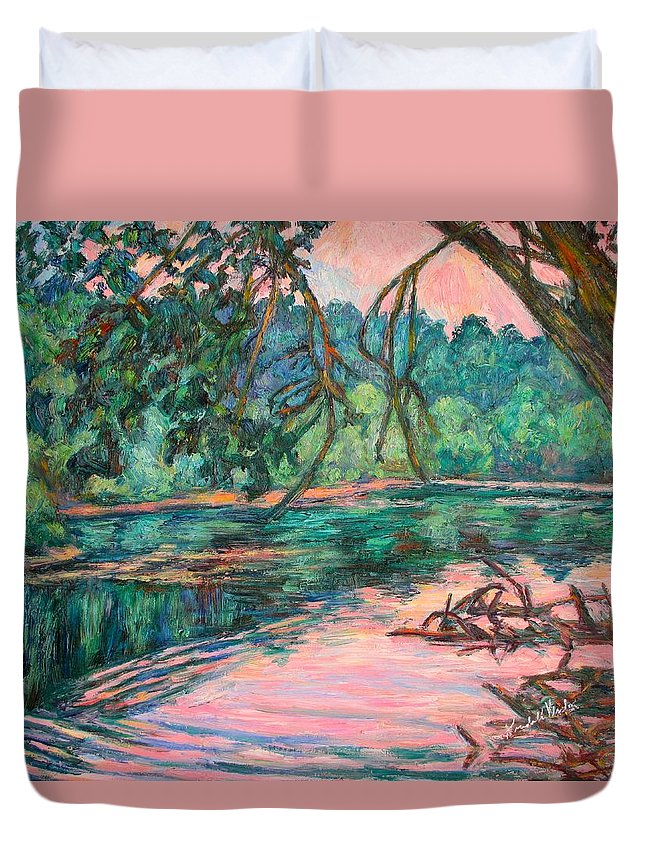 Riverview Park Duvet Cover featuring the painting Riverview At Dusk by Kendall Kessler
