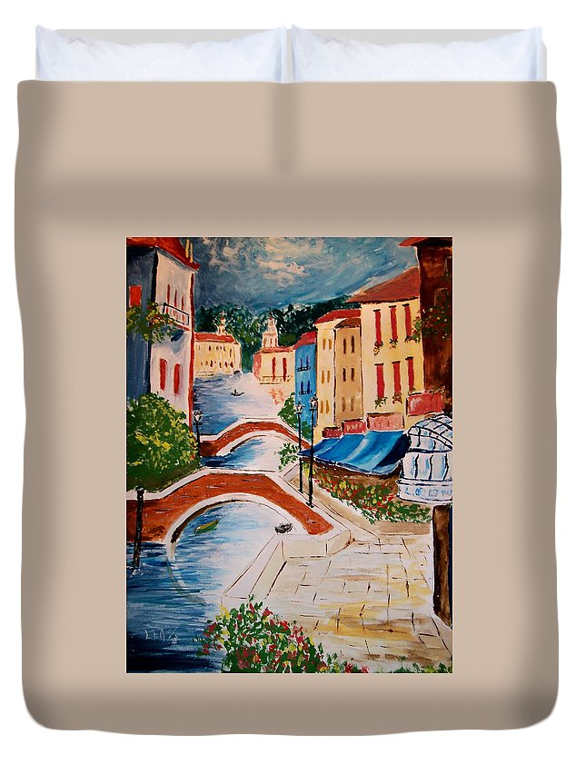Canal Duvet Cover featuring the painting Riverwalk by Leo Gordon