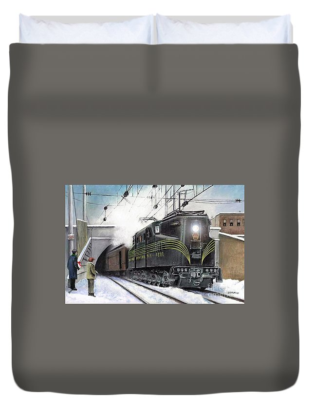 Pennsylvania Railroad Duvet Cover featuring the painting Rivets by David Mittner