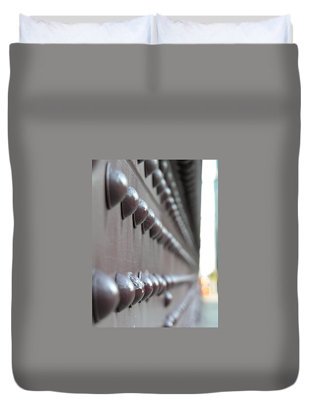 Rivets Duvet Cover featuring the photograph Rivets by Diane Greco-Lesser