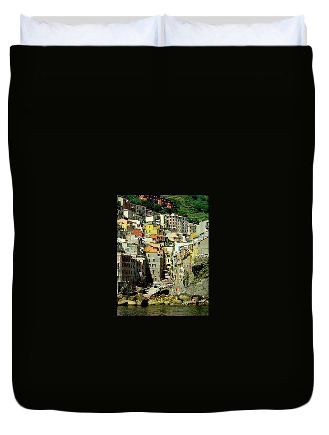 Italy Duvet Cover featuring the photograph Riviera Hill Town Italy by William Gardner