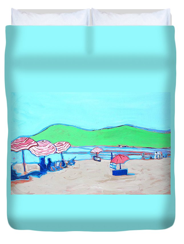 Seashore Duvet Cover featuring the painting Riviera by Kurt Hausmann