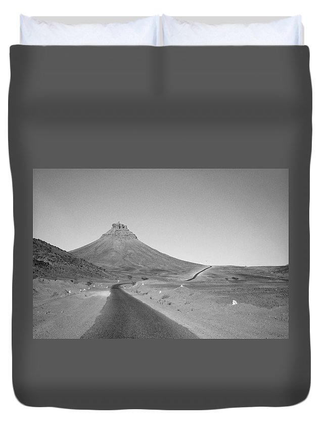 Morocco Duvet Cover featuring the photograph Road In Morocco Desert by Product Pics
