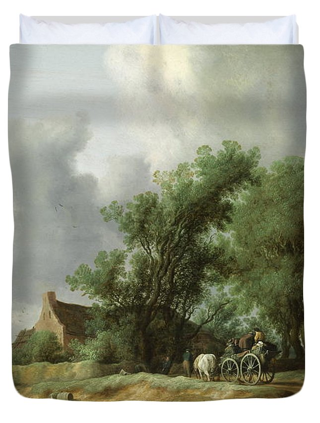 Antique Duvet Cover featuring the painting Road In The Dunes With A Passenger Coach After The Rain1631 by Hendrik Goltzius