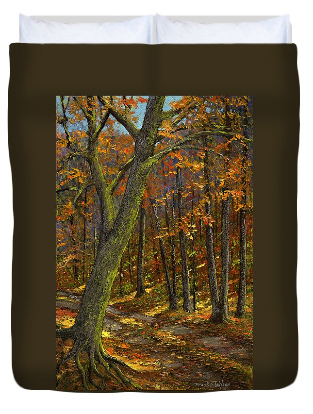 Landscape Duvet Cover featuring the painting Road In The Woods by Frank Wilson