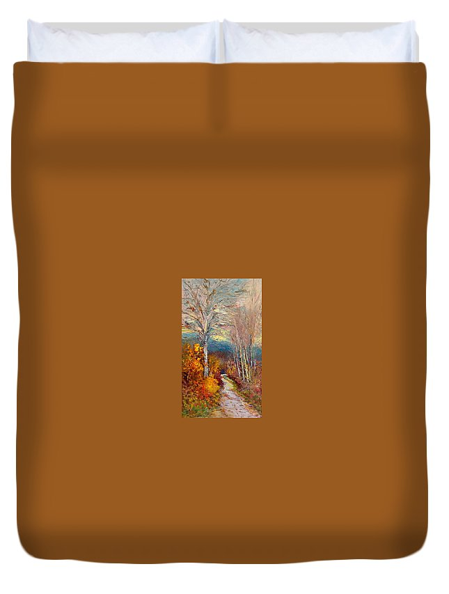Painting Duvet Cover featuring the painting Road Line - Tuscany by Biagio Chiesi