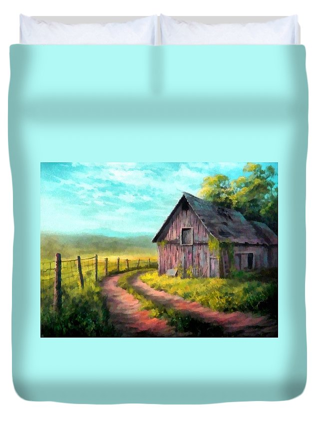Farm Duvet Cover featuring the painting Road On The Farm Haroldsville L B by Gert J Rheeders
