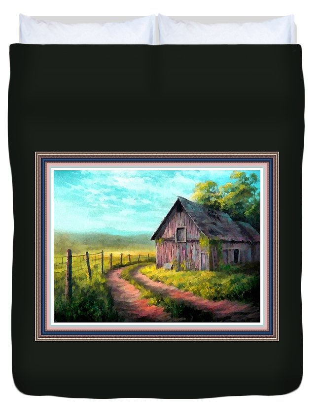 Farm Duvet Cover featuring the painting Road On The Farm Haroldsville L B With Decorative Ornate Printed Frame. by Gert J Rheeders