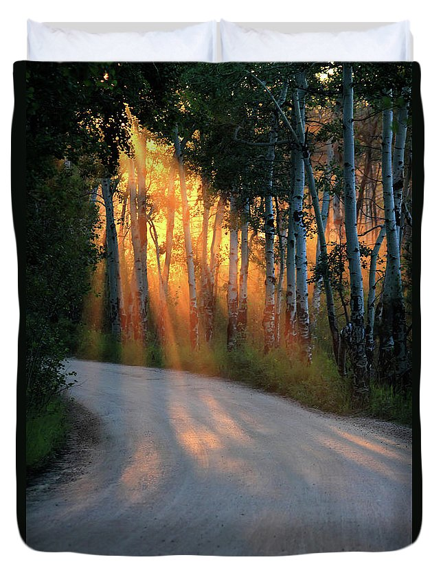 Rays Duvet Cover featuring the photograph Road Rays by Shane Bechler