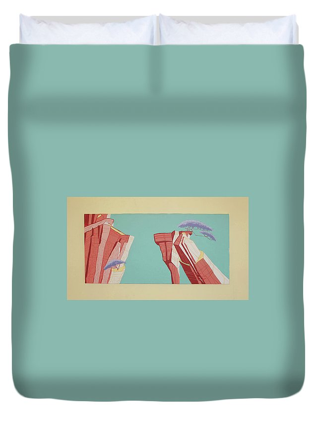 Maurice Noble Duvet Cover featuring the painting Road Runner Back Drop by Cole Dane