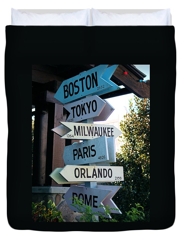 Disney Duvet Cover featuring the photograph Road Signs by Nora Martinez