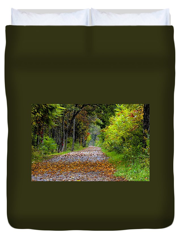 Fall Duvet Cover featuring the painting Road to Autumn by David Lee Thompson