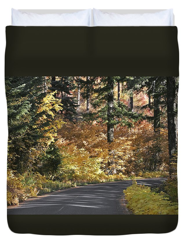 Road To Autumn Duvet Cover featuring the photograph Road To Autumn by Wes and Dotty Weber