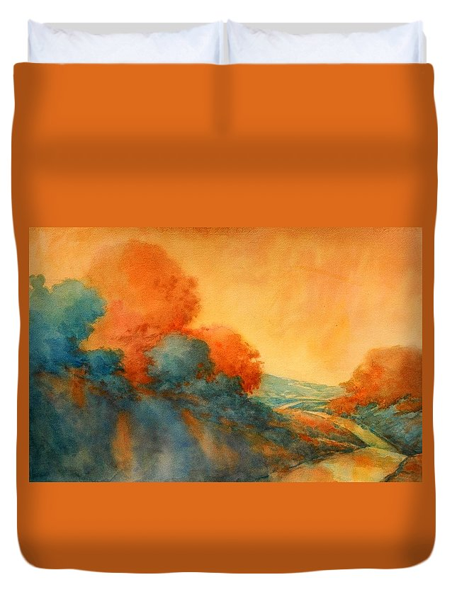 Landscape Duvet Cover featuring the painting Road To Bandera by Virgil Carter