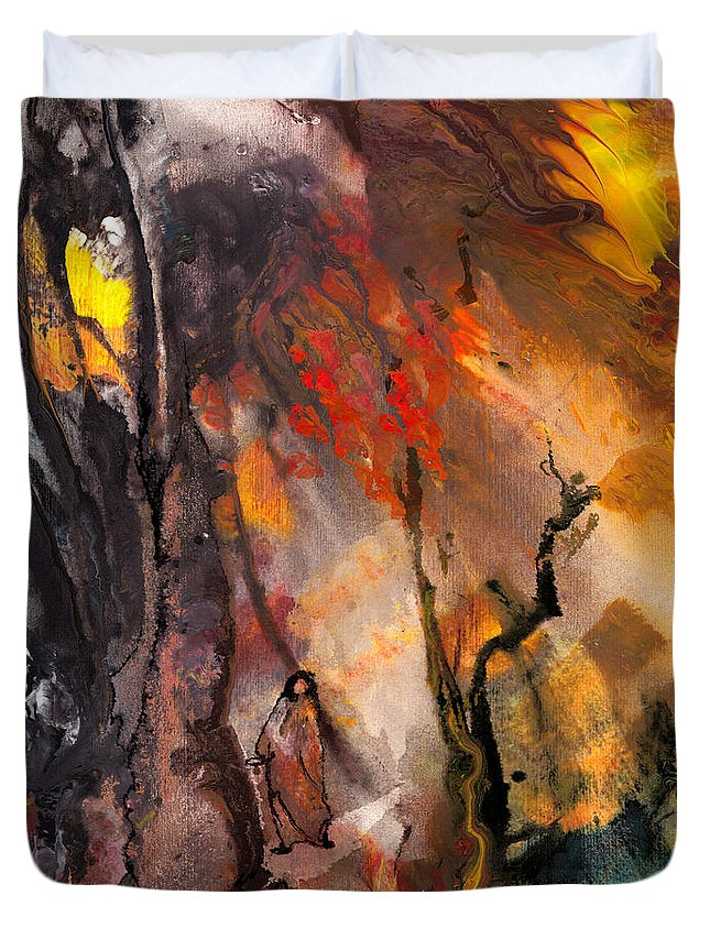 Fantasy Duvet Cover featuring the painting Road To Nowhere by Miki De Goodaboom