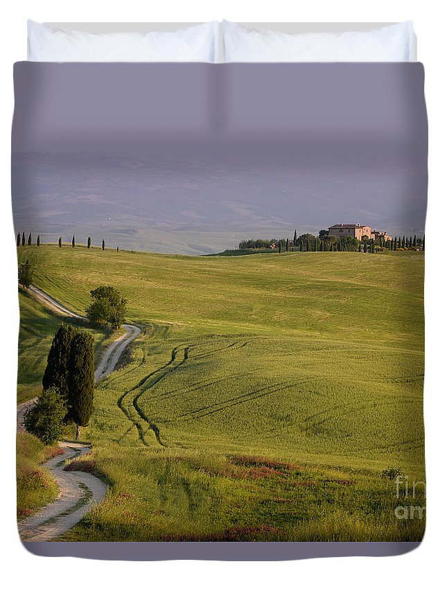 Terrapille Duvet Cover featuring the photograph Road To Terrapille In Tuscany by IPics Photography