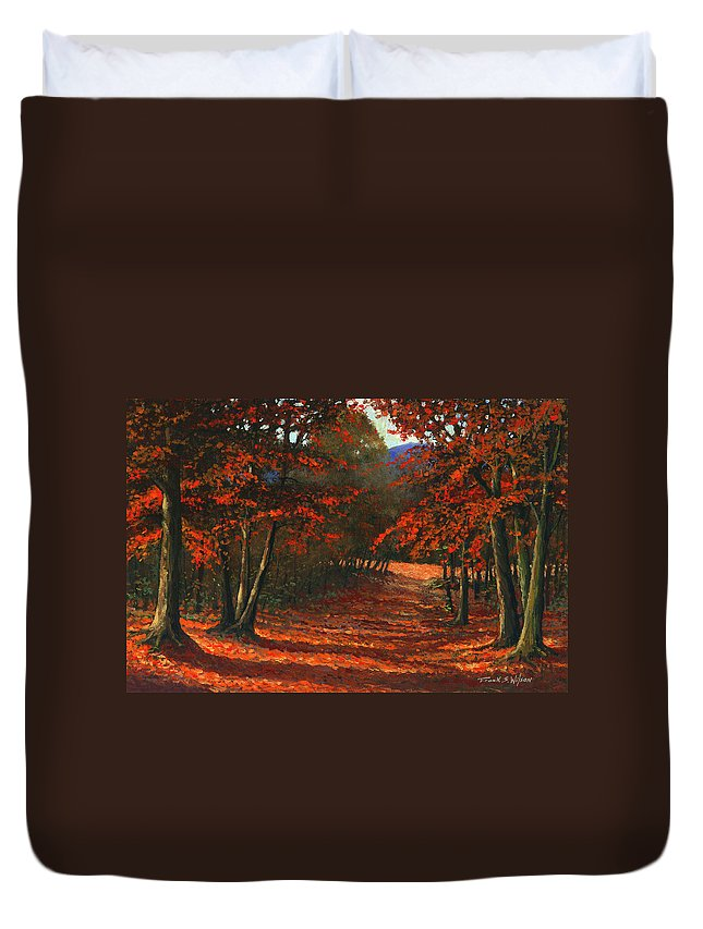 Landscape Duvet Cover featuring the painting Road To The Clearing by Frank Wilson