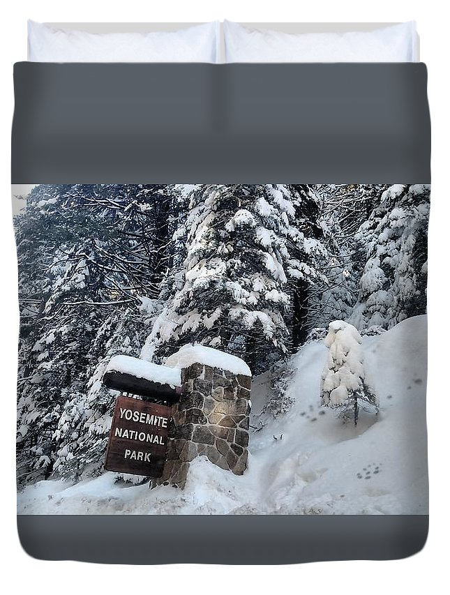 Snow Duvet Cover featuring the photograph Road To Yosemite National Park by Tiffani Burkett