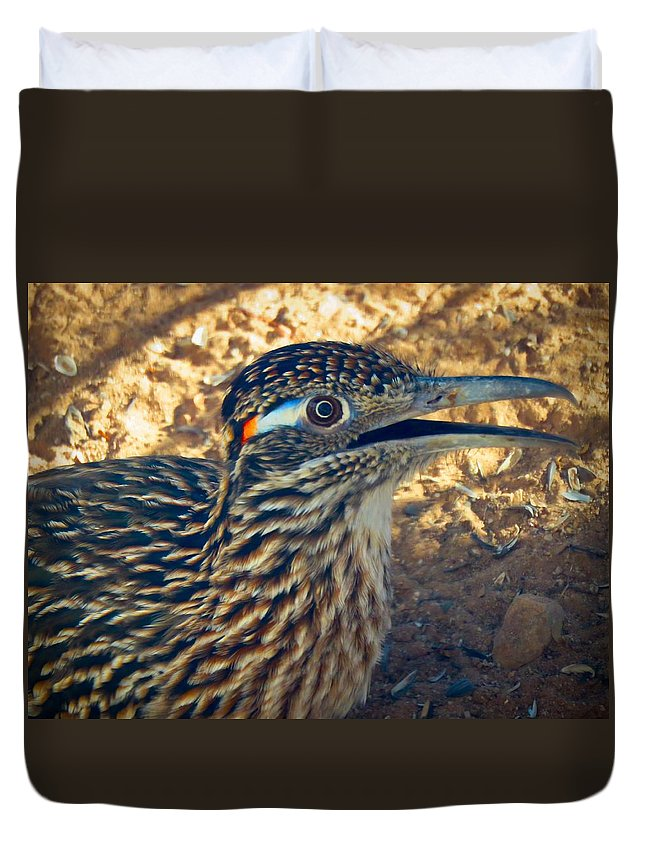 Arizona Duvet Cover featuring the photograph Roadrunner Portrait by Judy Kennedy