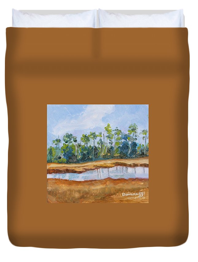 Nature Duvet Cover featuring the painting Roadside Florida by Jan Bennicoff