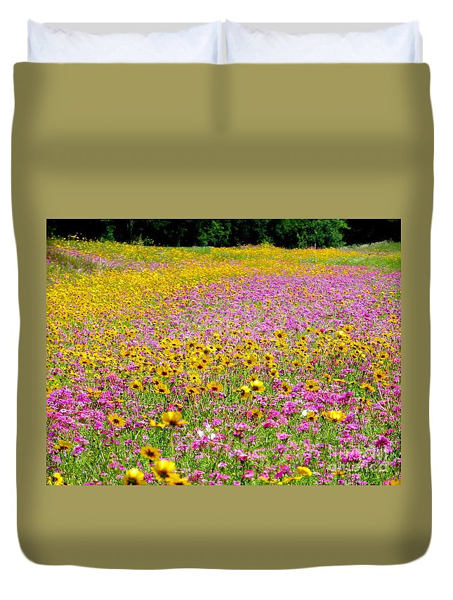 Roadside Duvet Cover featuring the pyrography Roadside Flower Garden by Tim Townsend