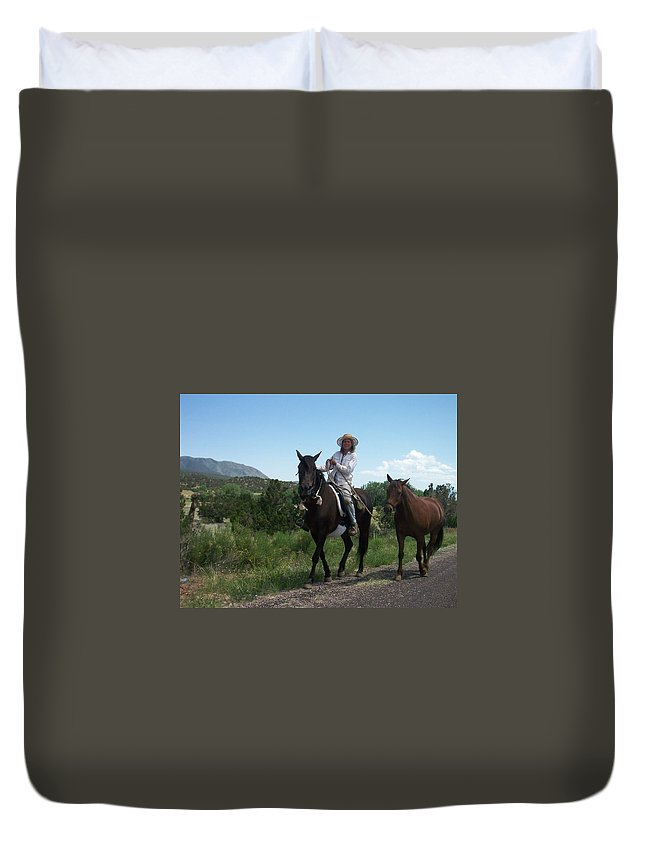 Horses Duvet Cover featuring the photograph Roadside Horses by Anita Burgermeister