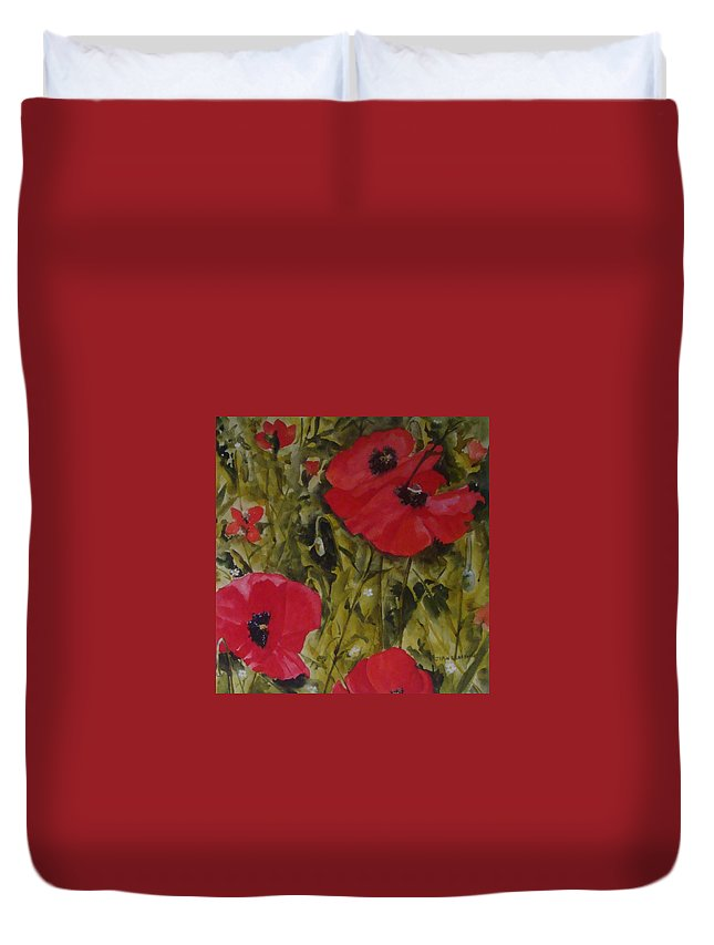 Poppies Duvet Cover featuring the painting Roadside Poppies by Jean Blackmer