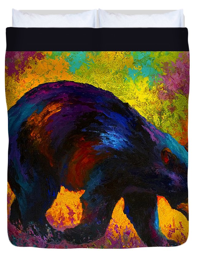Bear Duvet Cover featuring the painting Roaming - Black Bear by Marion Rose