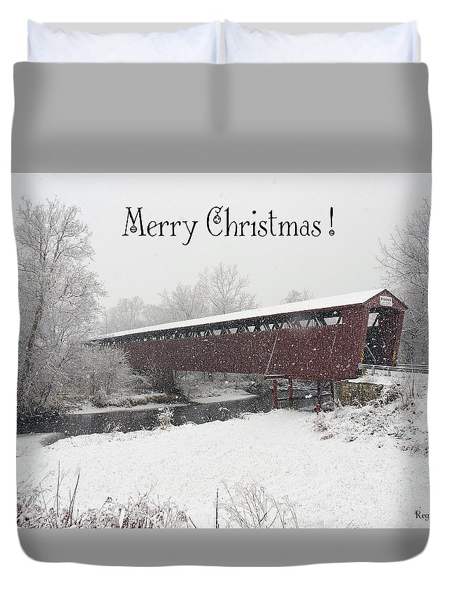 Covered Bridge Duvet Cover featuring the photograph Roann Christmas by Regine Brindle