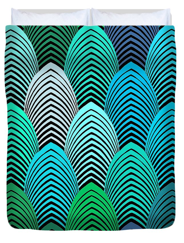 Roaring 20's Decor Duvet Cover featuring the digital art Roaring 20's Turquoise by Vagabond Folk Art - Virginia Vivier