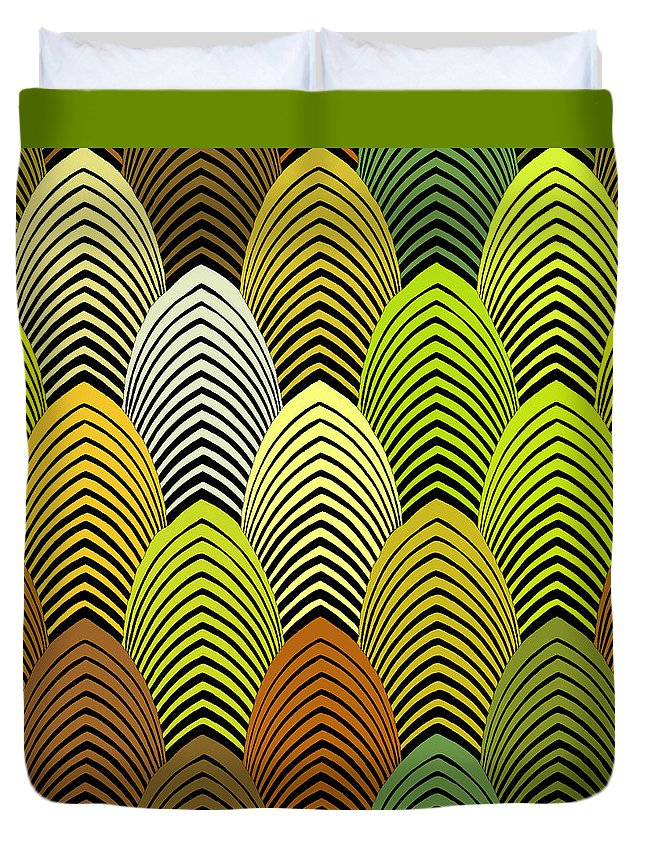 Roaring 20's Decor Duvet Cover featuring the digital art Roaring 20's Yellow by Vagabond Folk Art - Virginia Vivier